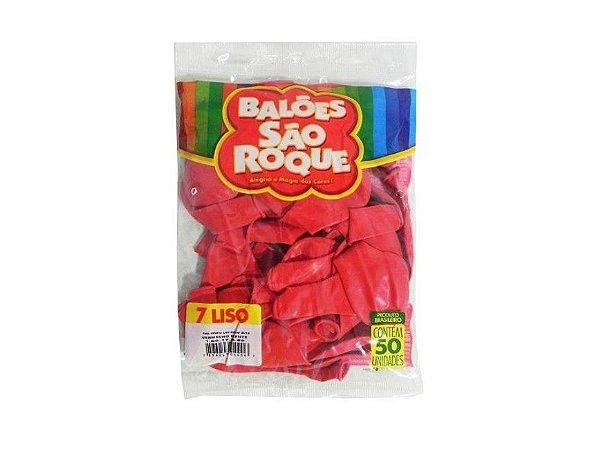 Balão 7 Liso C/50 Vermelho Quente - São Roque