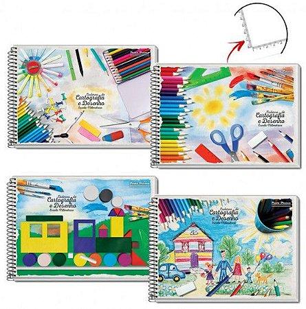 Caderno Desenho Milimetrado 60fl Espiral Capa Dura - Pauta Branca