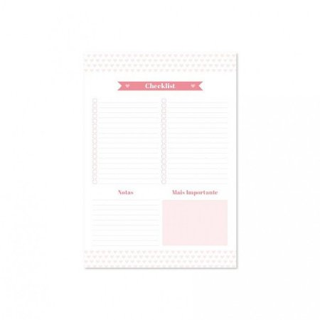 Bloco Pink Stone Check List A4