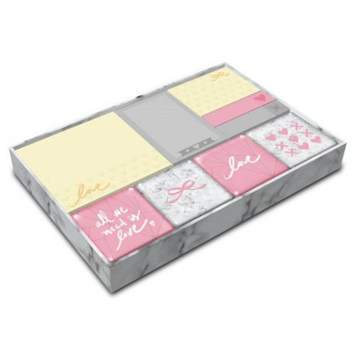 Conjunto Bloco Sticky Notes Pink Stone Com Ima Gm