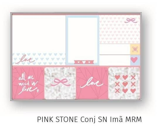 Conjunto Bloco Sticky Notes Pink Stone Com Ima Mrm