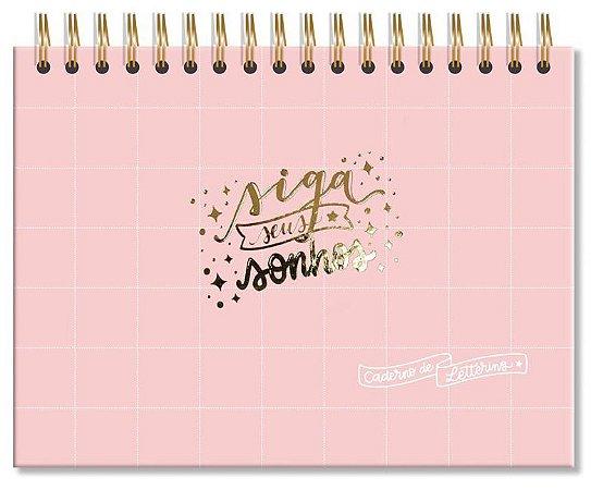Caderno de lettering 40 Folhas pretas Rosa quadriculado-Fina Ideia