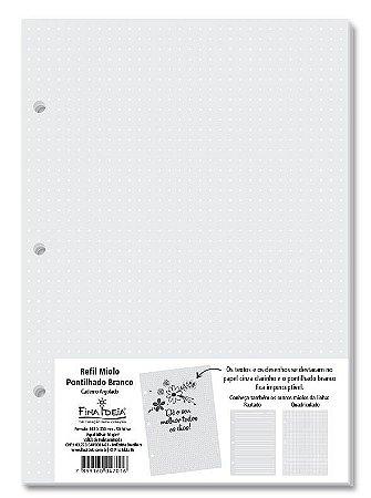 Refil Caderno Argolado Miolo Pontilhado Branco  90g/m² 50 Folhas-Fina Ideia