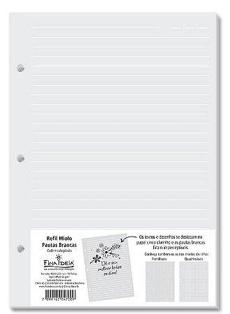Refil  Caderno Argolado Miolo Pautado Branco 90g/m² 50 Folhas -Fina Ideia