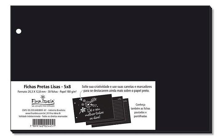 Fichas Lisas Preto 5x8 180 G/m² 30 Unidade-Fina Ideia
