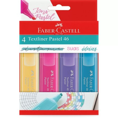 Kit Marca Texto Pastel 4 Cores - Faber-Castell