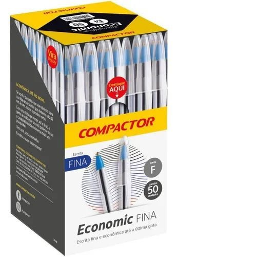 Caneta Esferográfica Economic Fina Preto -Compactor