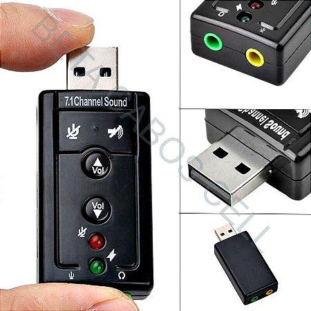Placa De Som Usb 7.1 Canais Adaptador Audio Fone De Ouvido USB Virtual
