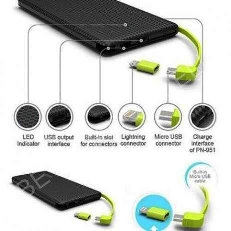 Carregador de Celular Portátil Slim 10000mah Powerbank Pineng Com 2 Usb
