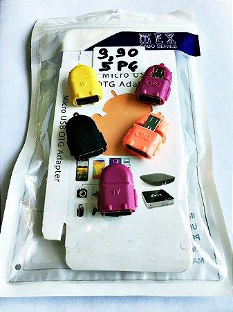 Kit com 5 Adaptador Micro Usb (v8) Macho X Usb Femea Otg Boneco