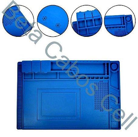 Manta Tapete de Isolamento S160 em Silicone Resistente ao Calor com Porta Objetos para Manutenção de Eletrônicos 450 x 300mm  -B