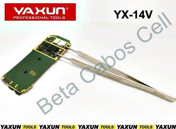 Pinça Reta Yaxun Yx-14v Yx 14 Antiestatica Aço Inox Prata para SMD e BGA