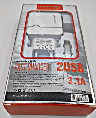 Carregador Tomada Hmaston V8 Y33-1 Y 33 2 USB 3.1A H***