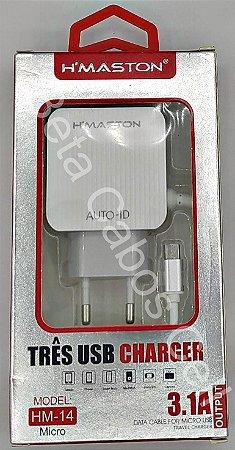 Carregador Tomada Hmaston V8 HM-14 Hm 14 3 USB 3.1A H***