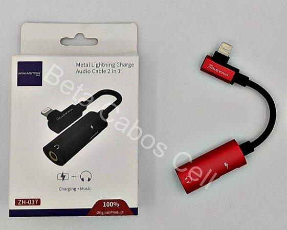 Adaptador Hmaston P2 Carga Iphone ZH-037 ZH 037 Metal 2x1 Carga e Audio H***