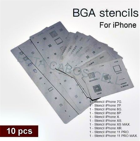 Stencil Bga Reballing iPhone Kit 10 pçs do 7G até 11 Pro Max