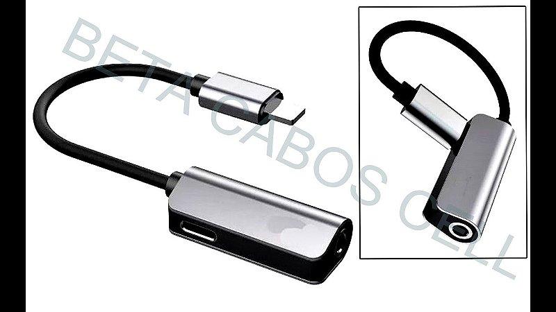 Adaptador iPhone Lightning Para P2 Carrega Com Fone 3.5mm em Aluminio