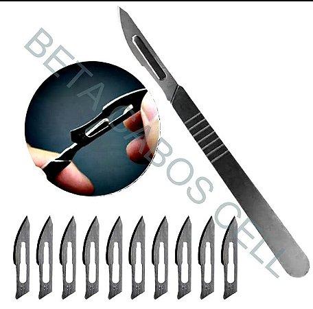 Kit Bisturi com 10 Laminas Reparação de Placa Blades