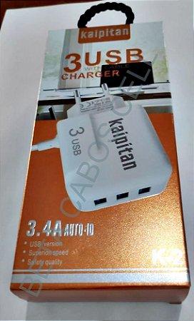 Carregador Kaipitan V8 3.4A K 2 com 3 USB