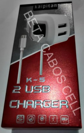 Carregador Kaipitan V8 com 2 USB K5 K 5