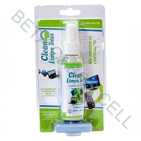 Clean Limpa Telas Spray 60ml Flanela Anti risco Implastec