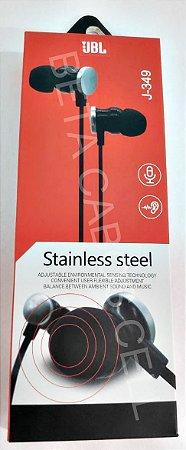 Fone de Ouvido Estilo JBL Stainless Steel J-349 J349 J 349