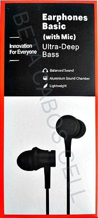 Fone MI Xiaomi Ultra Deep Bass Earphones Basic Estereo Celular Tablet Pc Notebook