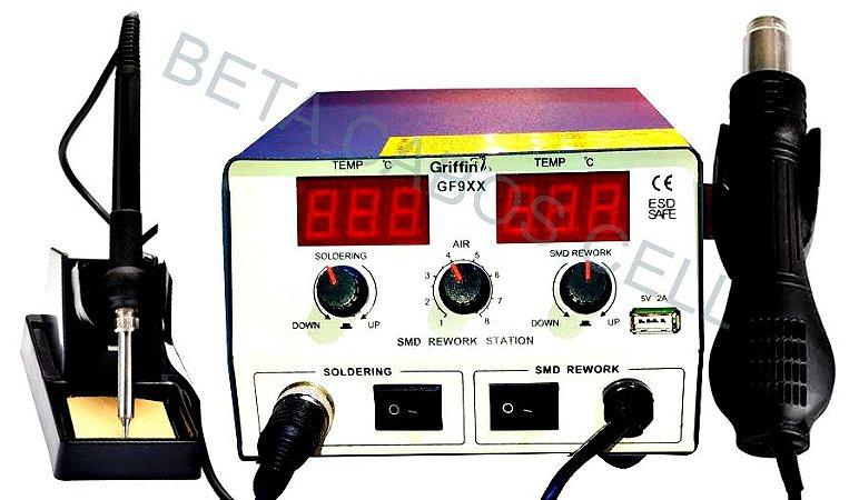Estação de Solda Digital com Ar Quente e Ferro Solda GF9XX GRIFFIN 110V 750W Alta Potencia