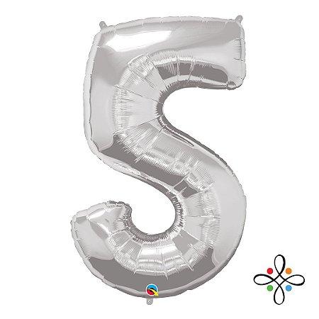 """Balão Metalizado Prata Numeral 5 (Cinco) - 34""""/86cm"""