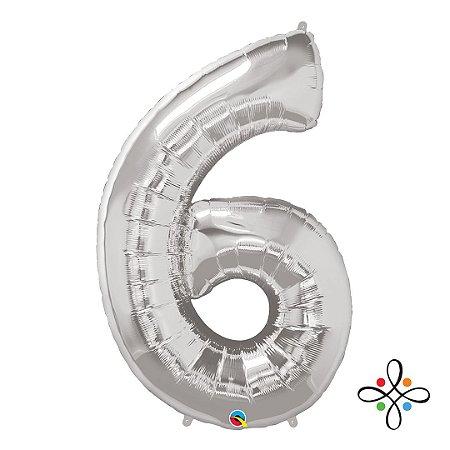 """Balão Metalizado Prata Numeral 6 (Seis) - 34""""/86cm"""