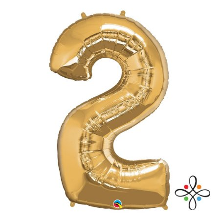 """Balão Metalizado Dourado Numeral 2 (Dois) - 34""""/86cm"""