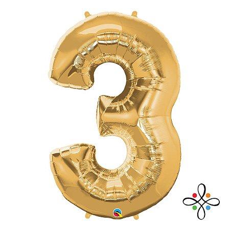 """Balão Metalizado Dourado Numeral 3 (Três) - 34""""/86cm"""