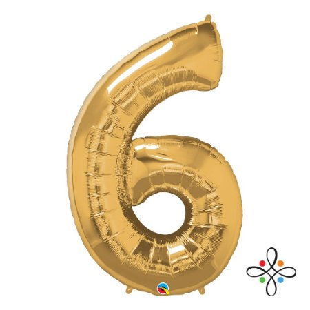 """Balão Metalizado Dourado Numeral 6 (Seis) - 34""""/86cm"""