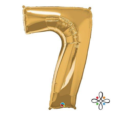 """Balão Metalizado Dourado Numeral 7 (Sete) - 34""""/86cm"""