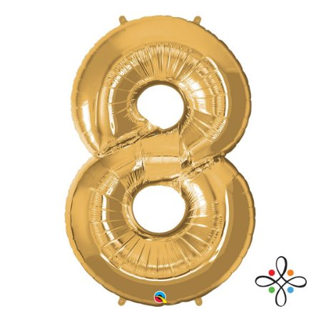 """Balão Metalizado Dourado Numeral 8 (Oito) - 34""""/86cm"""