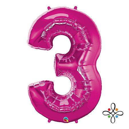 """Balão Metalizado Rosa Numeral 3 (Três) - 34""""/86cm"""