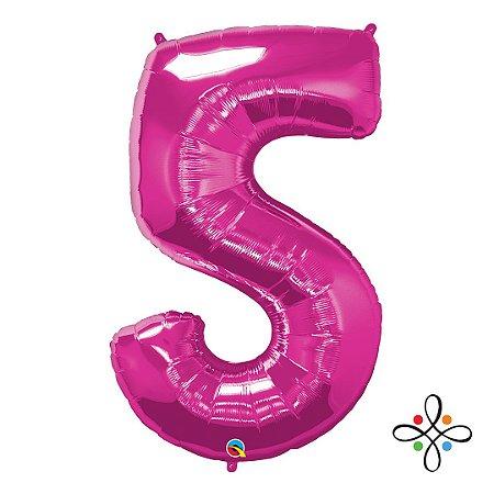 """Balão Metalizado Rosa Numeral 5 (Cinco) - 34""""/86cm"""