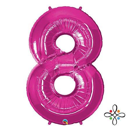 """Balão Metalizado Rosa Numeral 8 (Oito) - 34""""/86cm"""
