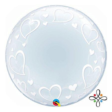 """Balão Bubble Transparente com Corações - 24""""/61cm"""