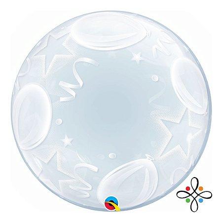 """Balão Bubble com Balões e Estrelas - 24""""/61cm"""