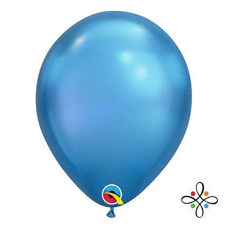 """Balão Chrome Látex Azul - 11"""" Polegadas"""