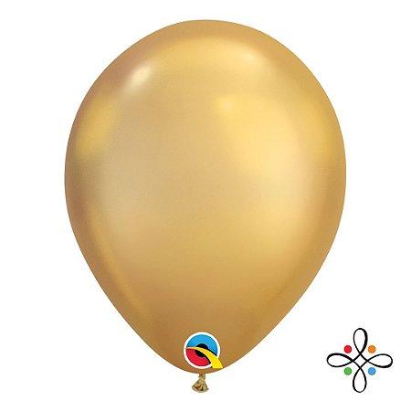 """Balão Chrome Látex Dourado - 11"""" Polegadas"""