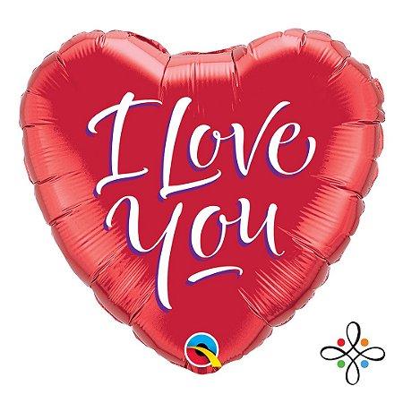 """Balão Coração I love You - 18"""" Polegadas"""