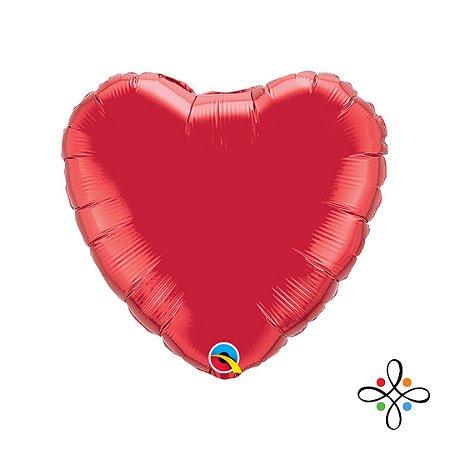 """Balão Coração Vermelho Rubi - 09"""" Polegadas"""