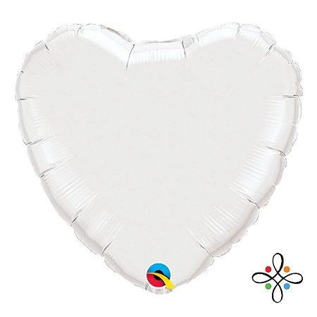 """Balão Coração Branco - 18"""" Polegadas"""