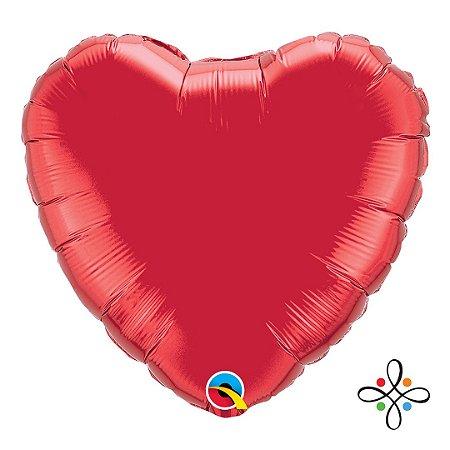 """Balão Coração Vermelho Rubi - 18"""" Polegadas"""