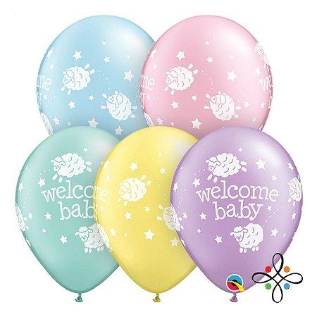 """Balão Welcome Baby - 11"""" Polegadas (unidade)"""