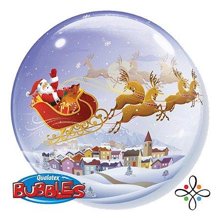 """Balão Bubble Papai Noel no Trenó - 22""""/56cm"""