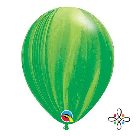 """Balão SuperAgate Arco-Íris Verde - 11"""" Polegadas"""