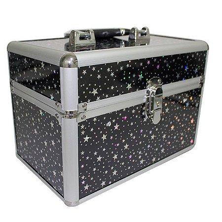 ML-006PE - Maleta para Maquiagem Preta com Estrelas
